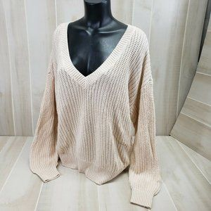 PINK Victoria's Secret Sweater V-Neck Large Cream